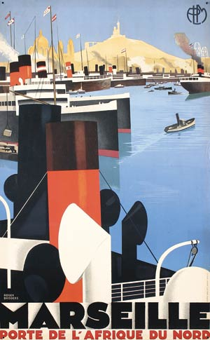 This image of the port of Marseille was produced in 1929 by Roger Broders. Image courtesy Poster Connection.