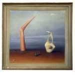 Abstract oil painting by 20th-century Irish artist Neville Johnston (est. 4,000-$6,000).