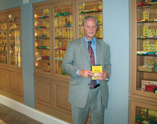 Dr. Scott D. Gillogly displayed his ultimate Matchbox collection in built-in showcases.