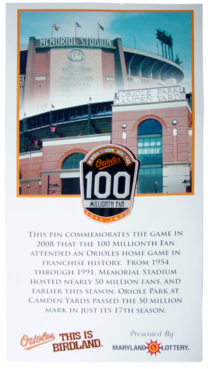 Orioles Commemorative Pin. Image By Catherine Saunders-Watson