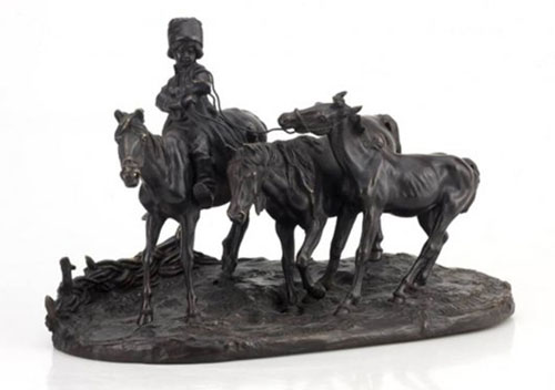 Lanceray's bronze sculptural tableau of horses and a peasant boy made $14,650.