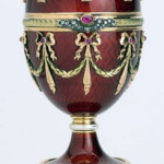 A red and gold egg made in the manner of Carl Fabergé sold for $17,250.