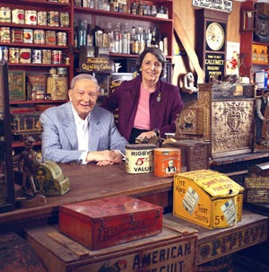 Ralph and Terry Kovel in the fully outfitted country store located in their home.