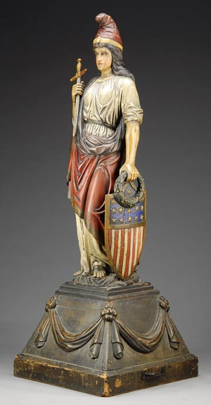 Starring in James Julia's summer auction was this awe-inspiring life- size figure of the Goddess of Liberty, which sold for $143,750. Image courtesy Julia Auctions.