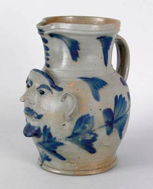 Rare Philadelphia stoneware pitcher, attributed to Richard Remmey, 10.5 inches h. $40,000-60,000