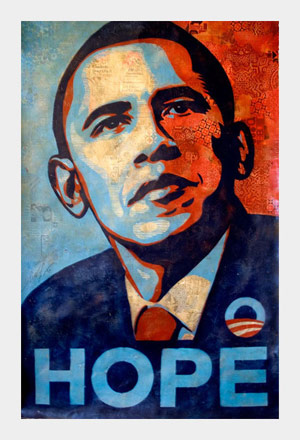 The original Shephard Fairey Obama poster, 4 x 6, on rag paper.