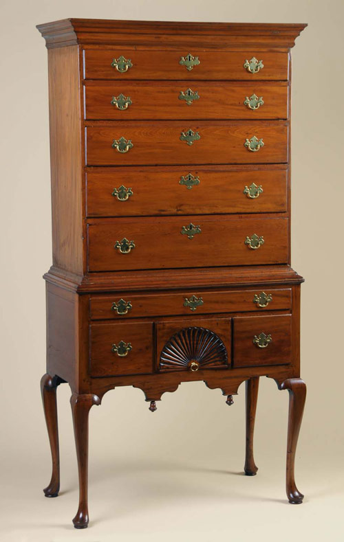 Circa 1760-1780 New England Queen Anne sycamore highboy, probably of Connecticut origin. Provenance: Dean Wilson Antiques, Verona, Va. 76 inches tall. Estimate $8,000-$12,000. Image courtesy Morphy Auctions.