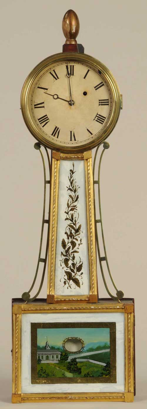 Circa-1835 banjo clock by Horace Tifft, Boston, with gold-leafed rope-front case with reverse-painted glass tablets. Estimate $4,000-$7,000. Image courtesy Morphy Auctions.