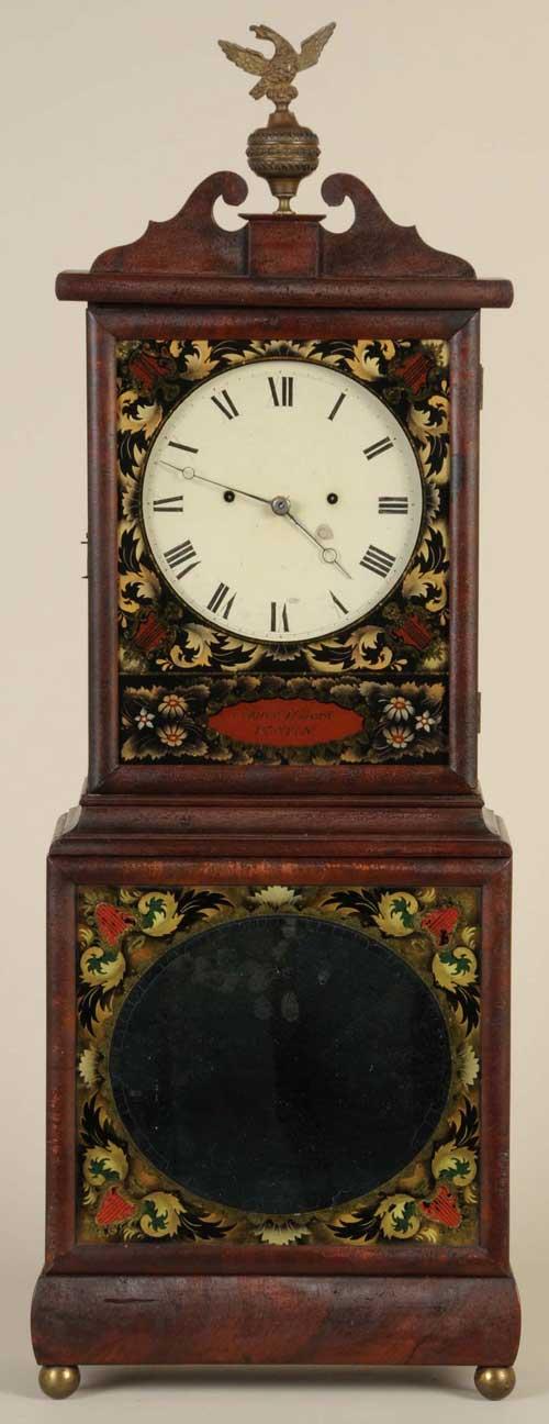 Circa-1820 Massachusetts shelf clock by Aaron Willard, mahogany case with swan's neck pediment centering original brass eagle finial. Estimate $30,000-$45,000. Image courtesy Morphy Auctions.