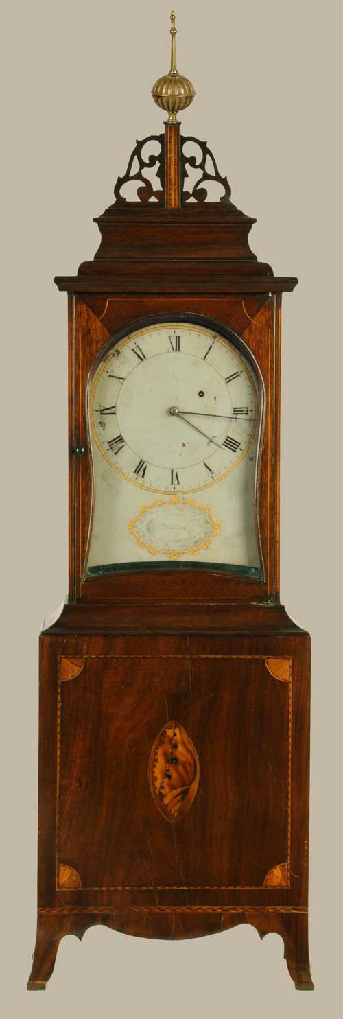 Circa-1800 Massachusetts Federal shelf clock by A. Willard, with mahogany case with pierced fretwork, molded pediment, elaborate shell, fan and banded inlays; and flaring French feet. Estimate $30,000-$50,000. Image courtesy Morphy Auctions.