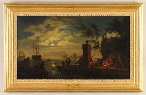Carlo Bonavia (Active 1755-1788), circa-1769 oil painting of Naples harbor titled The Bay of Gaeta. 16¾ inches by 29 inches. Estimate $15,000-$25,000. Image courtesy Morphy Auctions.