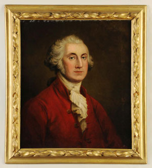 Oil-on-canvas portrait of George Washington, 19th century, American school, red jacket may have Masonic connection. Measures 29 inches by 25 inches. Estimate $12,000-$18,000. Image courtesy Morphy Auctions.