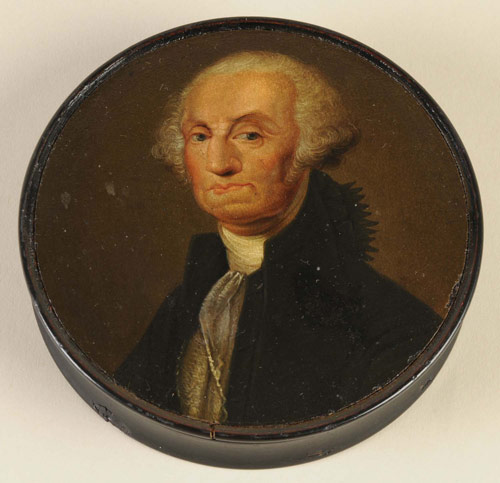 """19th-century French papier-mâché snuff box depicting George Washington. Interior inscribed """"Washington"""" in red script. Provenance: Collection of Lammot du Pont Copeland. Estimate $5,000-$8,000. Image courtesy Morphy Auctions."""
