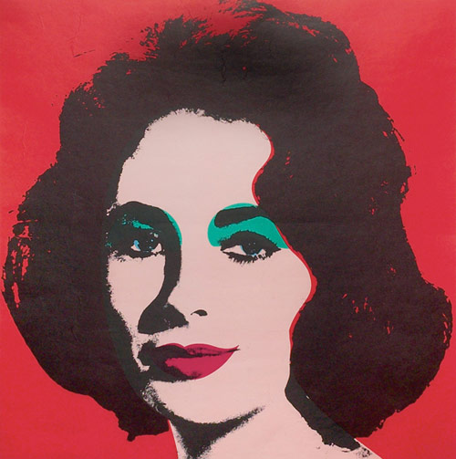 Andy Warhol's exhibition poster done in 1964 andtitled simply Liz is expected to reach $4,000-$6,000. Image courtesy Treadway Toomey.