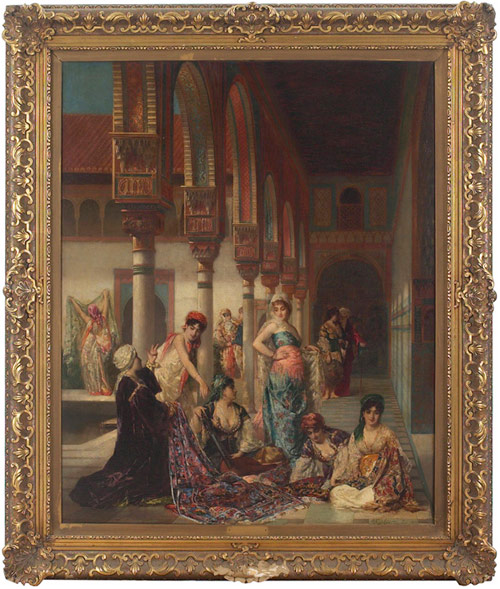 Oriental Splendor,an original oil painting done in 1876 by Edouard Richter (French, 1844-1913) is expected to sell for$70,000-$90,000. Image courtesy Treadway Toomey.