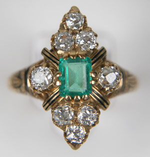 Antique Victorian 18K emerald, diamond and enamel ring. Image courtesy Estate Roadshow.