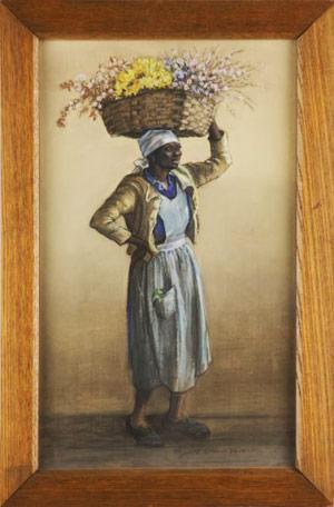 Pastel-on-silk full-figure drawing by Elizabeth O'Neill Verner (S.C., 1883-1979), titled Jamie (est. $20,000-$30,000). Image courtesy Leland Little Auctions.