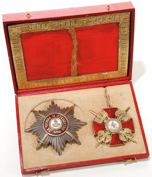 Russian curios include this breast star and badge of the Order of   Alexander Nevsky, which are estimated to sell for $25,000-$35,000. Image courtesy Jackson's International Auctioneers.