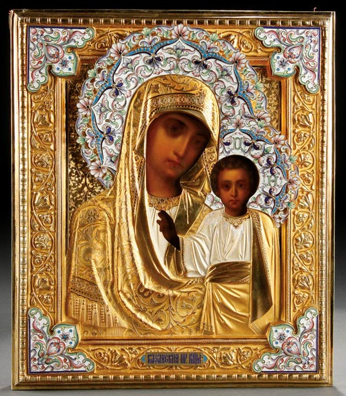 This image of the Kazan Mother of God is one of many Russian icons   available on the first day at Jackson's auction. Image courtesy Jackson's International Auctioneers.