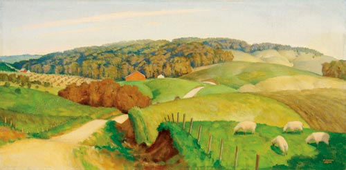 Marvin Cone's landscape depicts the rolling countryside of his native   Iowa. The oil on canvas, 15 by 30 inches, has a $60,000-$80,000   estimate. Image courtesy Jackson's International Auctioneers.