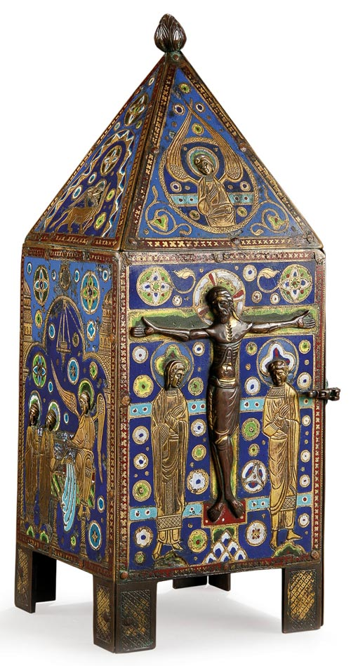 The estimate for this enameled gilt copper tabernacle from the Middle   Ages ranges from $40,000 to $70,000. Image courtesy Jackson's International Auctioneers.
