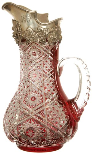 Topping the sale at $49,999 was this dark cranberry cut to clear tankard by Dorflinger in the fine no. 99 pattern. Image courtesy Woody Auction.