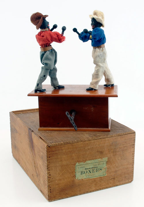 This pair of clockwork boxers was made by the famed 19th-century toymaker Ives, Blakeslee & Williams of Bridgeport, Conn. In 1892, Ives wholesale-priced its boxers at $36 per dozen, making it a very costly acquisition. The toy in Barrett's sale somehow made its way to Australia before being consigned to the Nov. 14-15 sale, in which it is expected to fetch a knockout price of $8,000-$10,000.  Noel Barrett Auctions image.