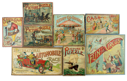 A lovely collection of late-19th and early 20th-century games will be included in Barrett's sale. These colorful games represented some of the highest-quality color printing of the day, especially those by the American maker McLoughlin. Noel Barrett Auctions image.