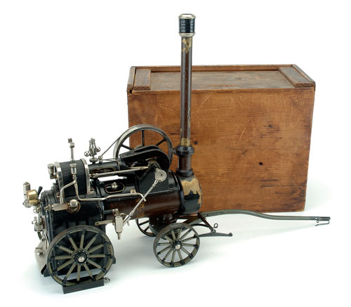 Marklin's live-steam traction engine is a complex toy that was very expensive when first marketed in the early 20th century. This example, with its original box, is identical to one that was auctioned eight years ago at Barrett's for $12,000. Noel Barrett Auctions image.