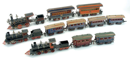 Marklin is the magic name in toy train collecting, and these outstanding pieces from the late Stan Cypher's collection include early 20th-century productions from the German company's 1 gauge American Eagle set and O gauge Royal Blue set. Both sets were made expressly for the American market. Noel Barrett Auctions image.
