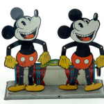 Made by Wilhelm Krauss (Germany), this lithographed-tin, pulley-operated toy features two Mickey Mouse dancers. Previously documented examples include only a single dancing-mouse figure; this is the first of its type that Noel Barrett has ever seen. Estimate: $10,000-$13,000. Noel Barrett Auctions image.