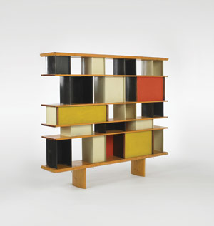 Charlotte Perriand, Jean Prouve and Sonia Delaunay, Bibliotheque from the Maison du Mexique, Ateliers Jean Prouve, France, c. 1952. Enameled aluminum, white pine, mahogany, 72.25 w x 12.75 d x 63 h inches. Hammer price: $126,000. Image courtesy of Wright20.