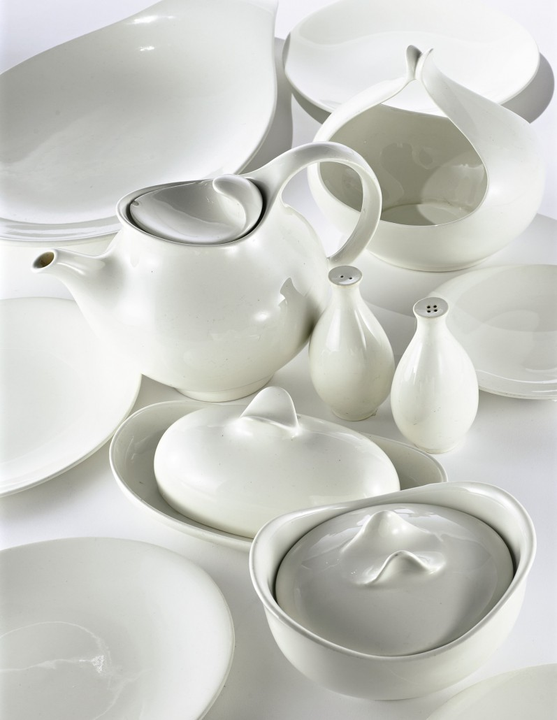 Tomorrow's Classic tea and dinner service, Hallcraft:  Sotheby's sold 103 pieces of Tomorrow's Classic tea and dinner service in June 2006 for $1,800, inclusive of the buyer's premium. The transfer-printed mark on the pieces reads Hallcraft by Eva Zeisel. Image courtesy Sotheby's New York.