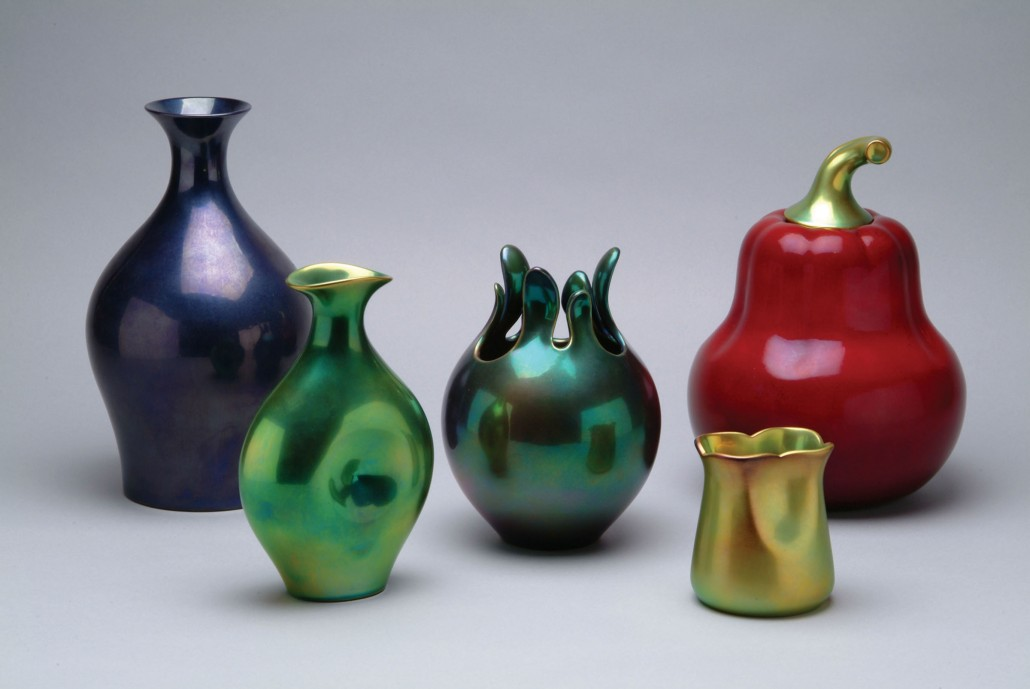 Zsolnay porcelain vessels, 1999. Based on Eva Zeisel's designs of 1983, Zsolnay produced these porcelain vessels in iridescent glazes in 1999. Collection of the Erie Art Museum.