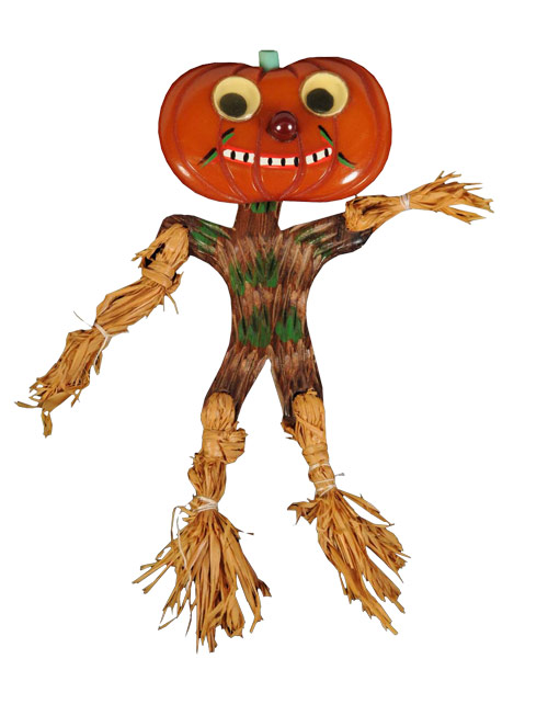 Pumpkin Man brooch with googly eyes, painted-wood body and scarecrow extremities made of hemp. Estimate $5,000-$7,000. Image courtesy Morphy Auctions.