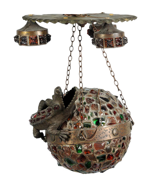 Circa-1915 Austrian bronze lamp with inset jewels on the alligator base. Estimate $5,500-$6,500. Image courtesy Morphy Auctions.