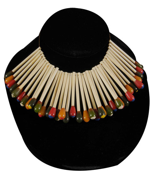 Bakelite matchstick necklace by Martha Sleeper, estimate: $1,500-$2,000. Image courtesy Morphy Auctions.