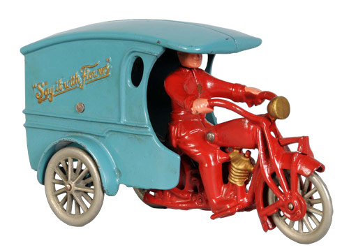Hubley cast-iron Say It With Flowers motorcycle with only known box for the 9-inch version, ex Perelman Museum. Estimate $30,000-$50,000. Image courtesy Morphy Auctions.