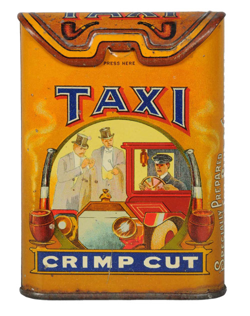 Taxi vertical tobacco pocket tin manufactured by Imperial Tobacco Co., estimate: $3,500-$5,000. Image courtesy Morphy Auctions.
