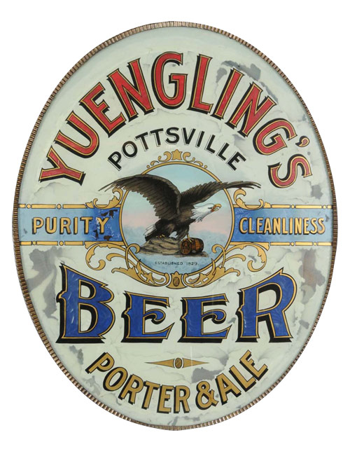 Very rare 19th-century reverse-on-glass Yuengling Beer advertising sign with fluted metal framework, trim and wooden corner bracket. Estimate $5,000-$7,500. Very rare 19th-century reverse-on-glass Yuengling Beer advertising sign with fluted metal framework, trim and wooden corner bracket. Estimate $5,000-$7,500. Image courtesy Morphy Auctions.