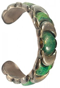 Large silver bracelet with malachite stones, marked Spratling Made in Mexico. Courtesy Treadway Gallery.
