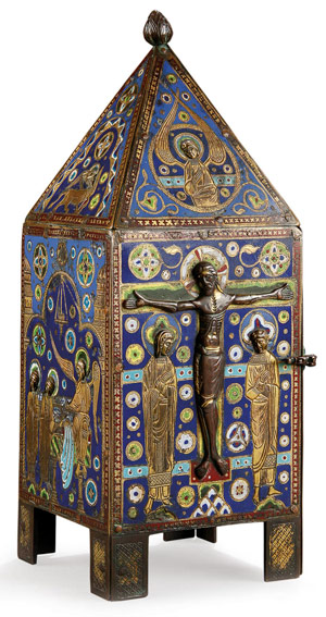 This Limoges champleve enamel gilt-copper tabernacle, circa 1250 and measuring 10 inches in height, drew worldwide interest and sold for $295,000. It was the top-finishing lot in Jackson's International's sale. Image courtesy Jackson's International.