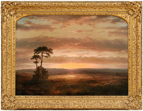 Brunk Auctions devoted two full pages in the catalog to Solitude or Sunset, Louis Rémy Mignot's 1854 painting. The 30 inch by 41 7/8 inch artwork is expected to bring $100,000-$150,000 after an $80,000 reserve. Image courtesy Brunk Auctions.
