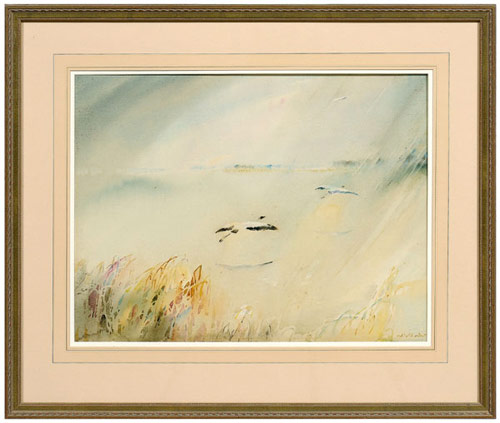 A bright, sunlit lagoon with ascending wood storks is the subject of Alice Ravenel Huger Smith's 16¾ inch by 21 3/8 inch painting. This work is by one of the most important artists from the Charleston Renaissance and is estimated at $10,000-$20,000 with an $8,000 reserve. Image courtesy Brunk Auctions.