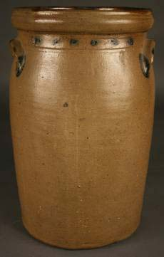 Southern pottery included this East Tennessee cobalt decorated stoneware churn attributed to Charles Decker's Keystone pottery, which realized $1,238. Image courtesy Case Antiques Auction.