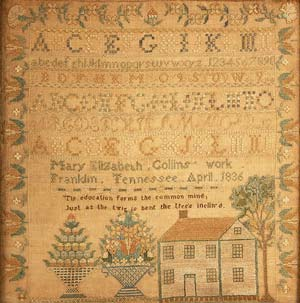 This sampler signed Mary Elizabeth Collins, Franklin, Tennessee and dated 1836, set a record for a Tennessee sampler at auction, selling for $28,125. Image courtesy Case Antiques Auction.