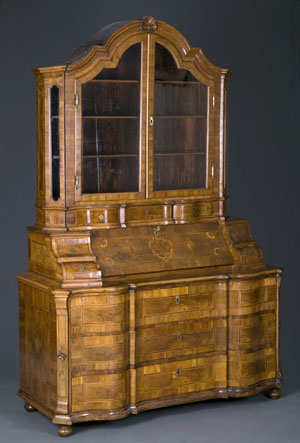 1770 German walnut parquetry bureau cabinet or schreibshrank, 89 inches tall, made expressly for Gernyeszeg, the Teleki family's baroque castle in Transylvania. Estimate: $15,000-$25,000. Image courtesy Quinn's Auction Galleries.