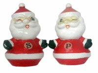 This 5-inch-tall Santa-shaped china salt and pepper set was imported by Holt-Howard in 1960. The Winking Santa set is worth $35 to collectors of Christmas memorabilia and those who seek pieces by the Holt-Howard company.