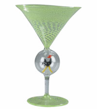 This champagne glass was sold by Garth's Auctions in Delaware, Ohio, for $40. It may be by a relatively unknown glassworks in Vienna in the 1920s or it may be by a similar, less important and newer company.