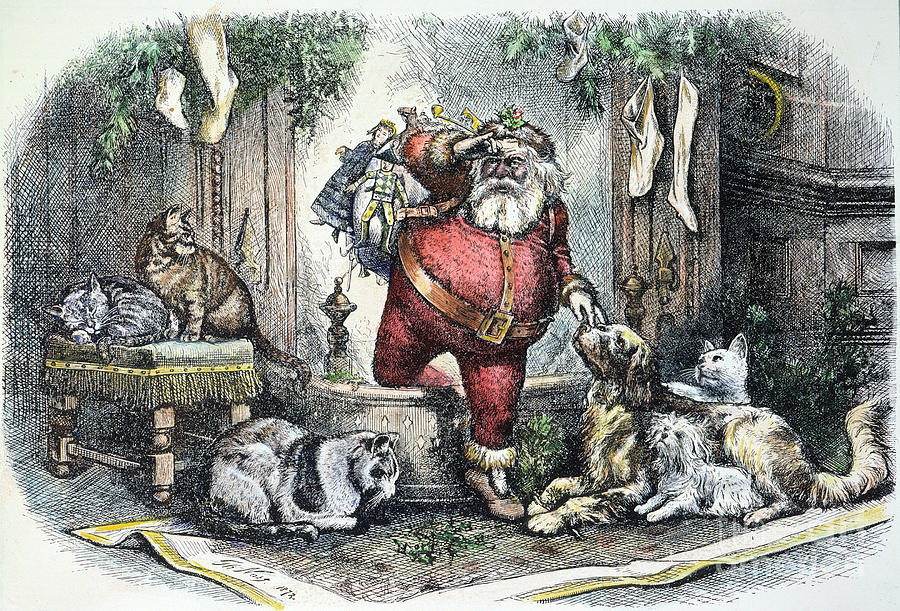 Santa makes his arrival down the chimney, as family pets look on. Drawing by Thomas Nast